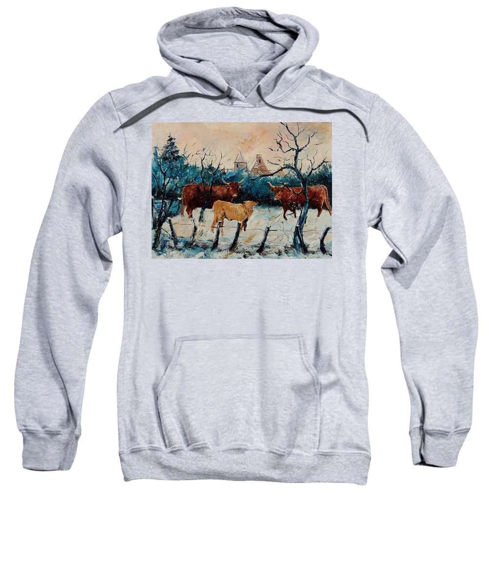Animal Sweatshirt featuring the painting Cows by Pol Ledent