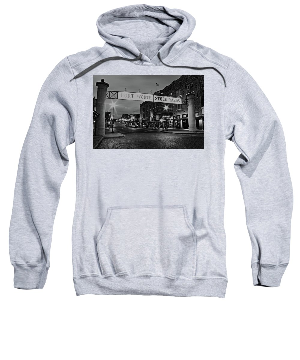 Black And White Sweatshirt featuring the photograph Cowtown by Daniel Koglin