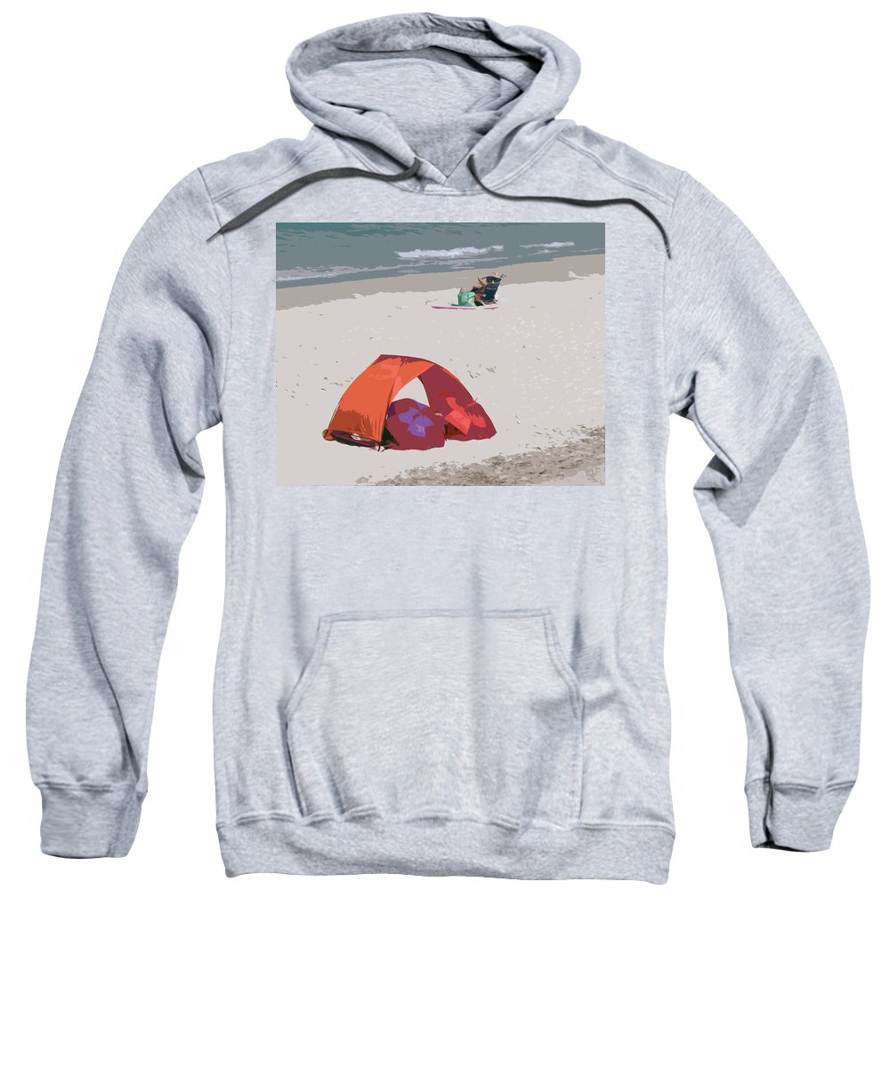 Florida Sweatshirt featuring the painting Cozy Hide-a-way For Two On A Florida Beach by Allan Hughes