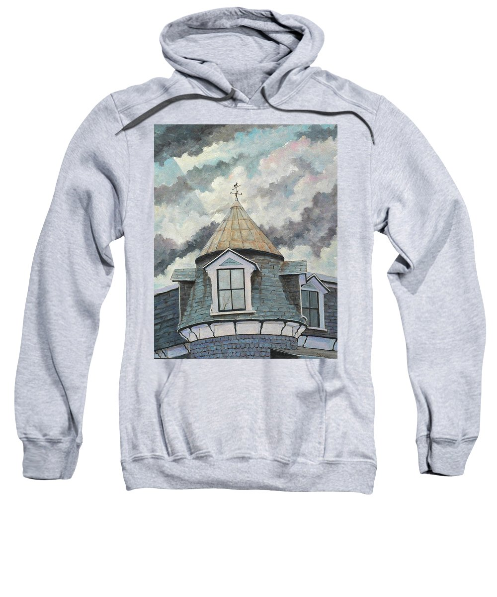 Art Sweatshirt featuring the painting Crack The Sky_reserve by Richard T Pranke