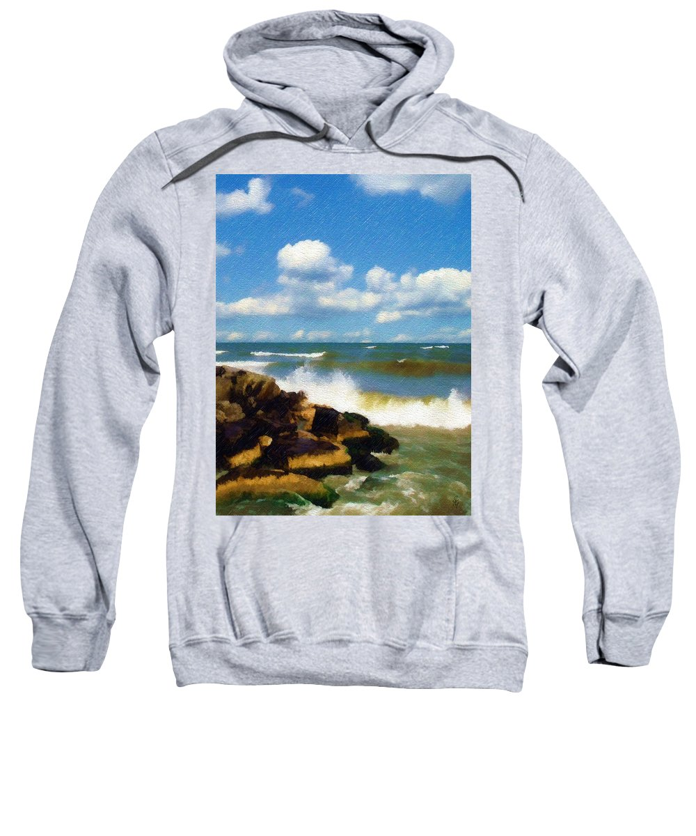 Seascape Sweatshirt featuring the photograph Crashing Into Shore by Sandy MacGowan