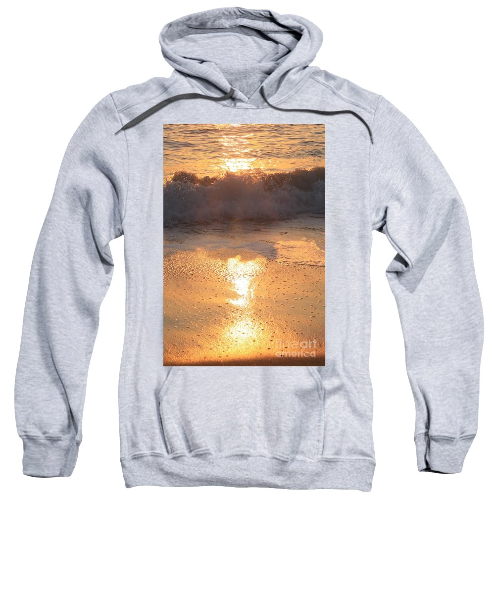 Waves Sweatshirt featuring the photograph Crashing Wave At Sunrise by Nadine Rippelmeyer