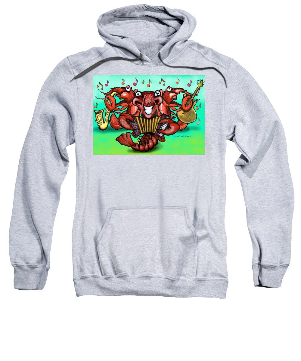 Crawfish Sweatshirt featuring the greeting card Crawfish Band by Kevin Middleton