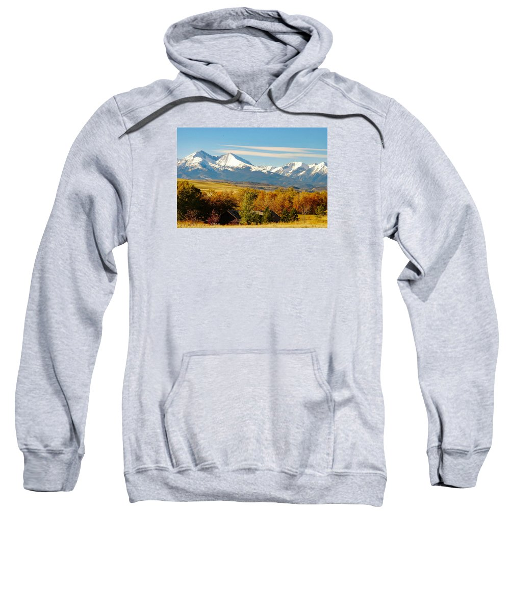 Crazy Mountains Sweatshirt featuring the photograph Crazy Mountain Homestead by Ann Dickinson