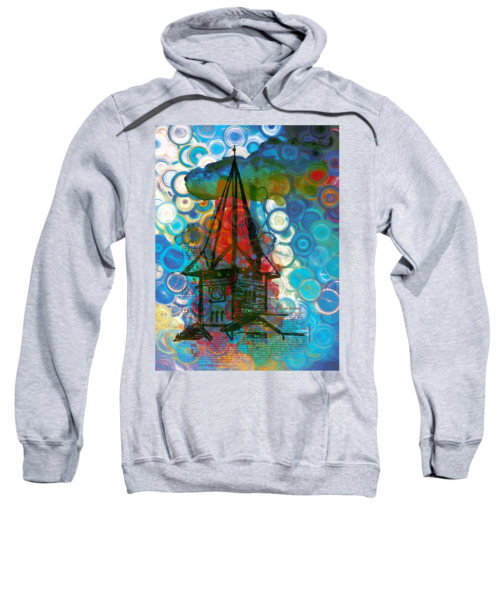 Crazy House In The Clouds Whimsy Sweatshirt featuring the painting Crazy Red House In The Clouds Whimsy by Georgiana Romanovna