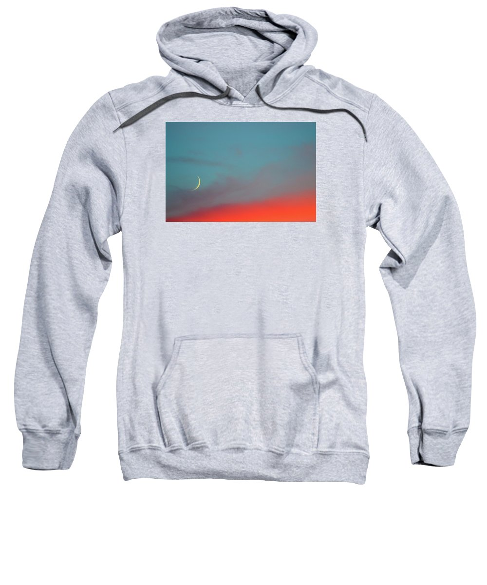 Abstract Sweatshirt featuring the photograph Crescent Moon Setting After Sunset by Lyle Crump