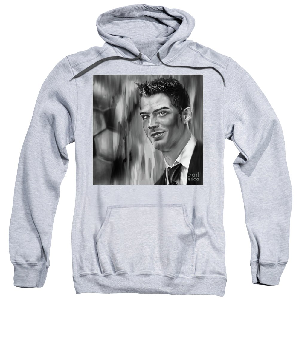 Soccer Sweatshirt featuring the painting Cristiano Soccer Player 01 by Gull G