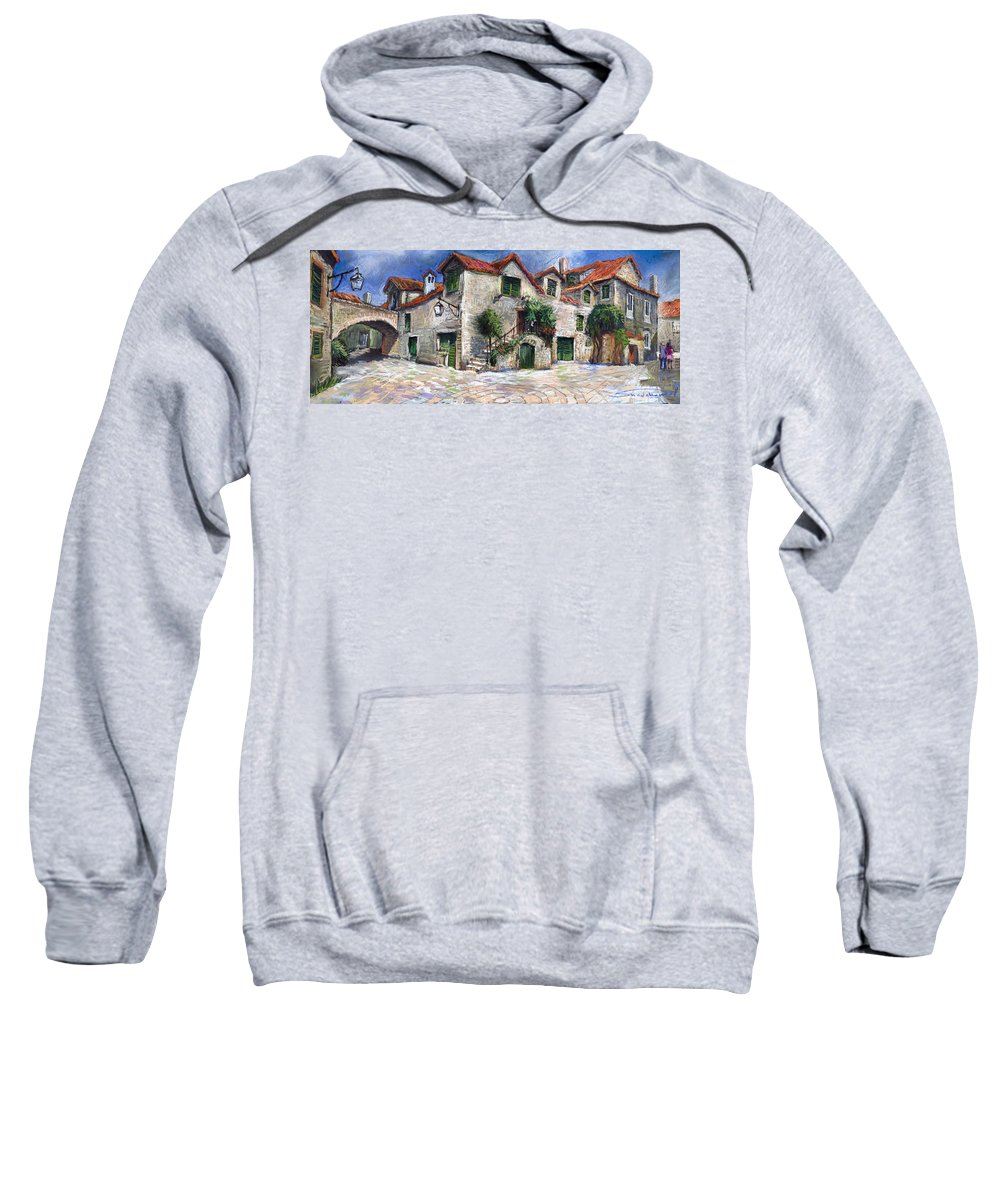 Pastel On Paper Sweatshirt featuring the painting Croatia Dalmacia Square by Yuriy Shevchuk
