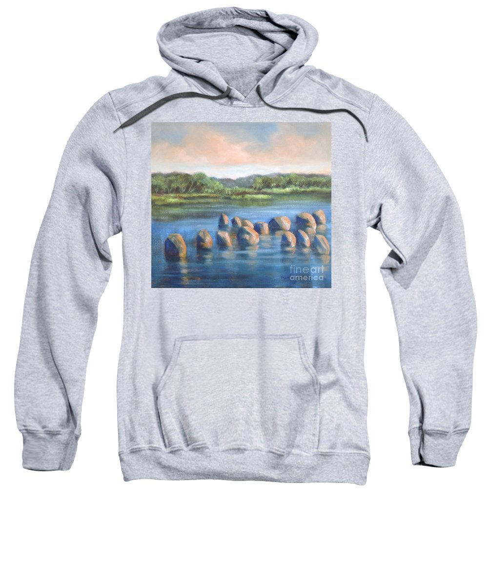 Clear Reflection Sweatshirt featuring the painting Cross Of Rocks by Randy Burns