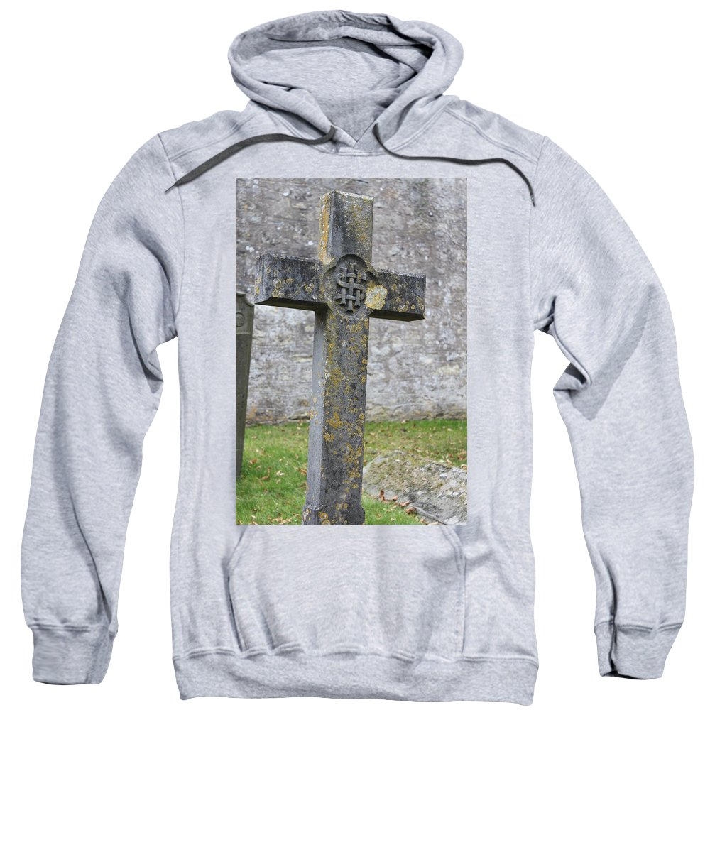 Cross Sweatshirt featuring the photograph Cross Tombstone St. Mary's Wedmore by Lauri Novak