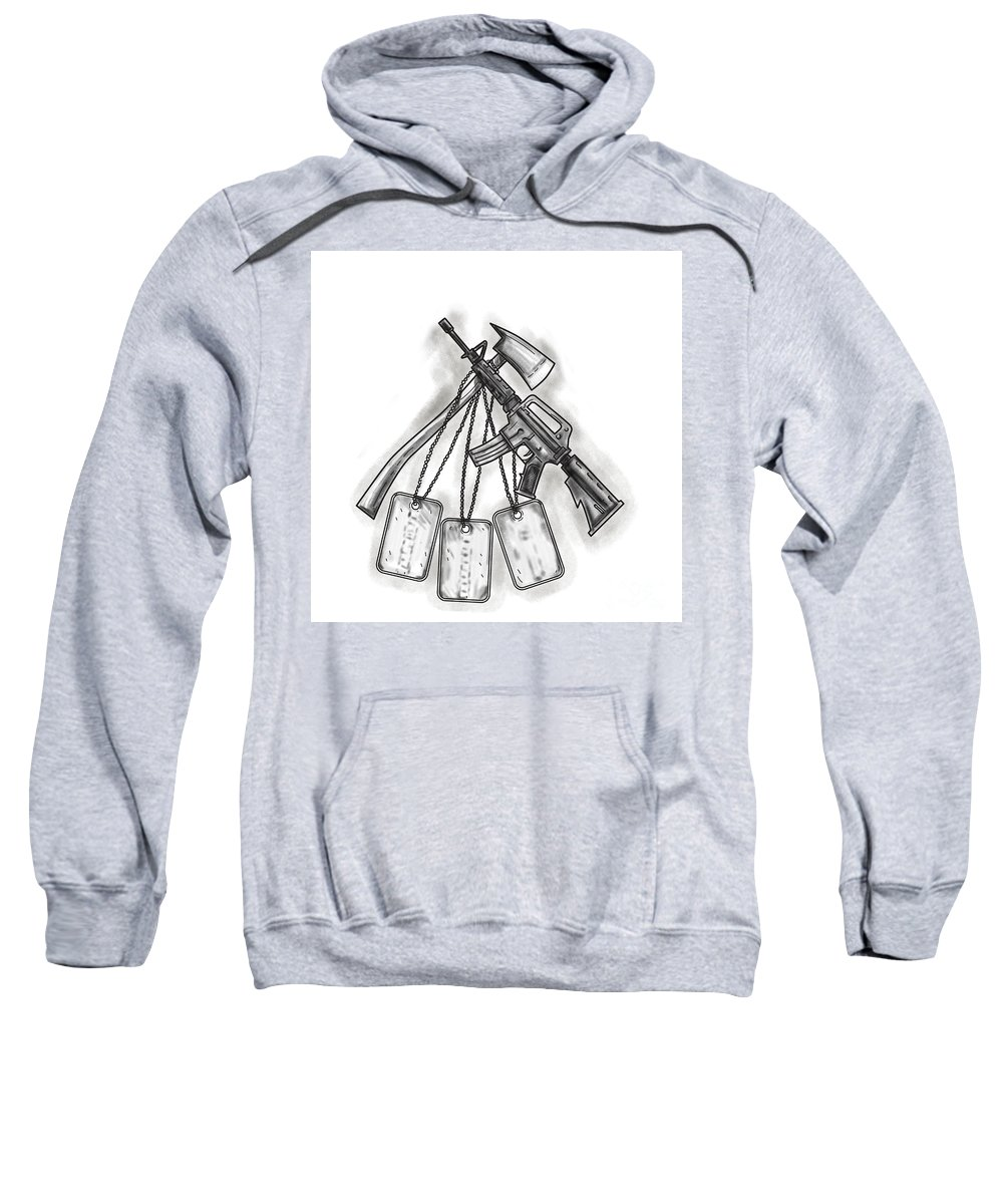Tattoo Sweatshirt featuring the digital art Crossed Fire Ax And M4 Rifle Dog Tags Tattoo by Aloysius Patrimonio