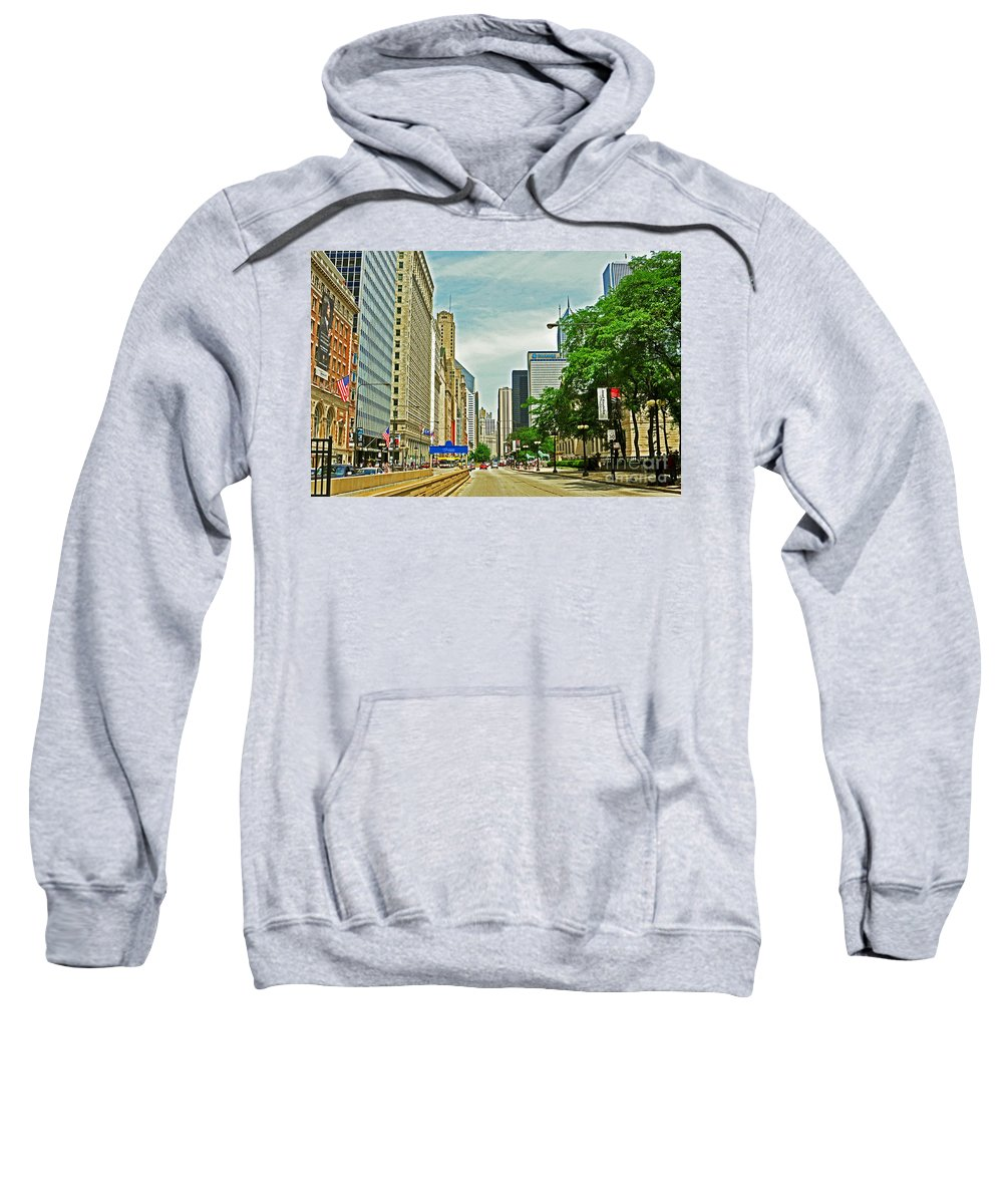 Chicago Sweatshirt featuring the photograph Crossing Chicago's South Michigan Avenue by Lydia Holly