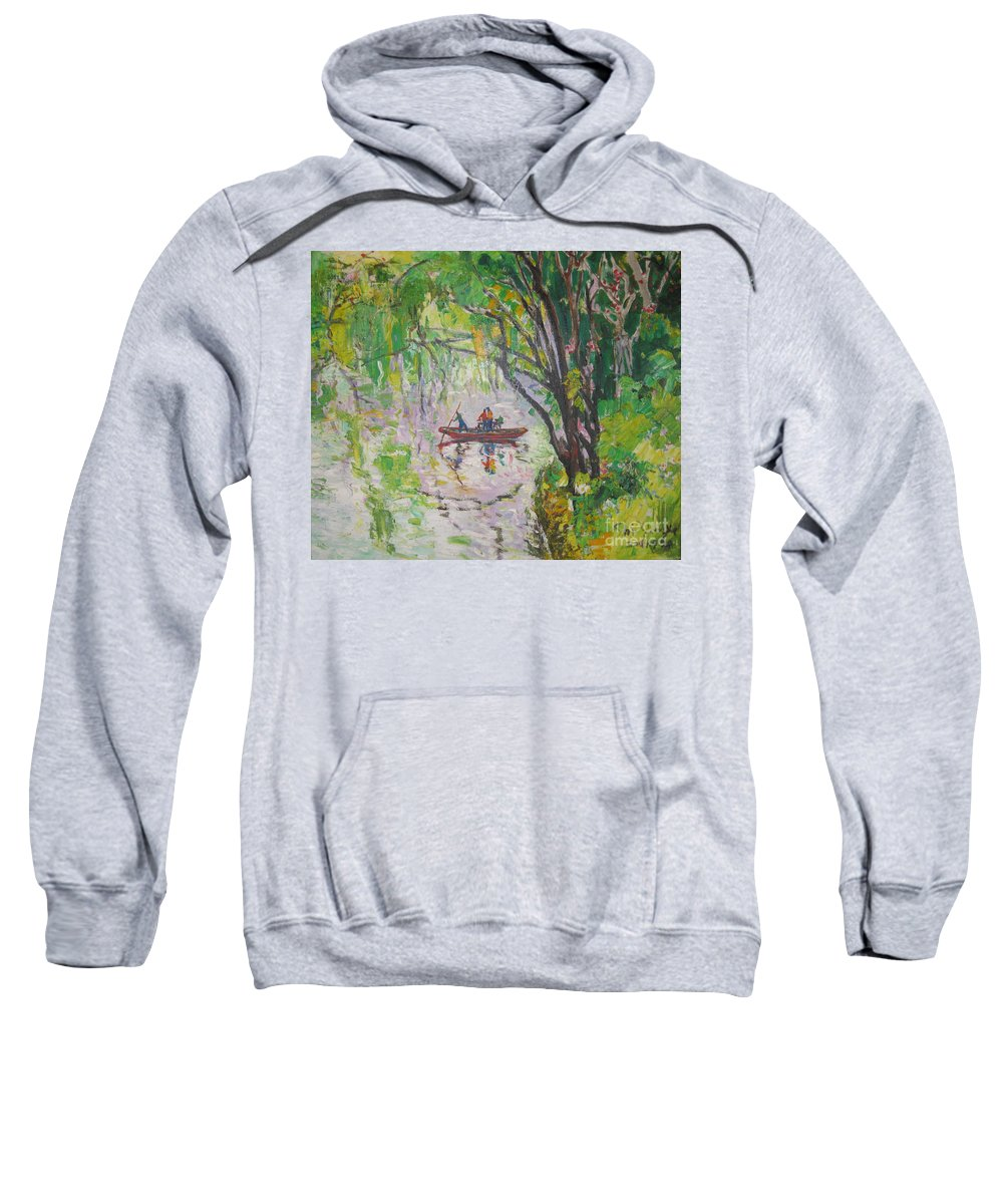 Crossing Sweatshirt featuring the painting Crossing by Guanyu Shi