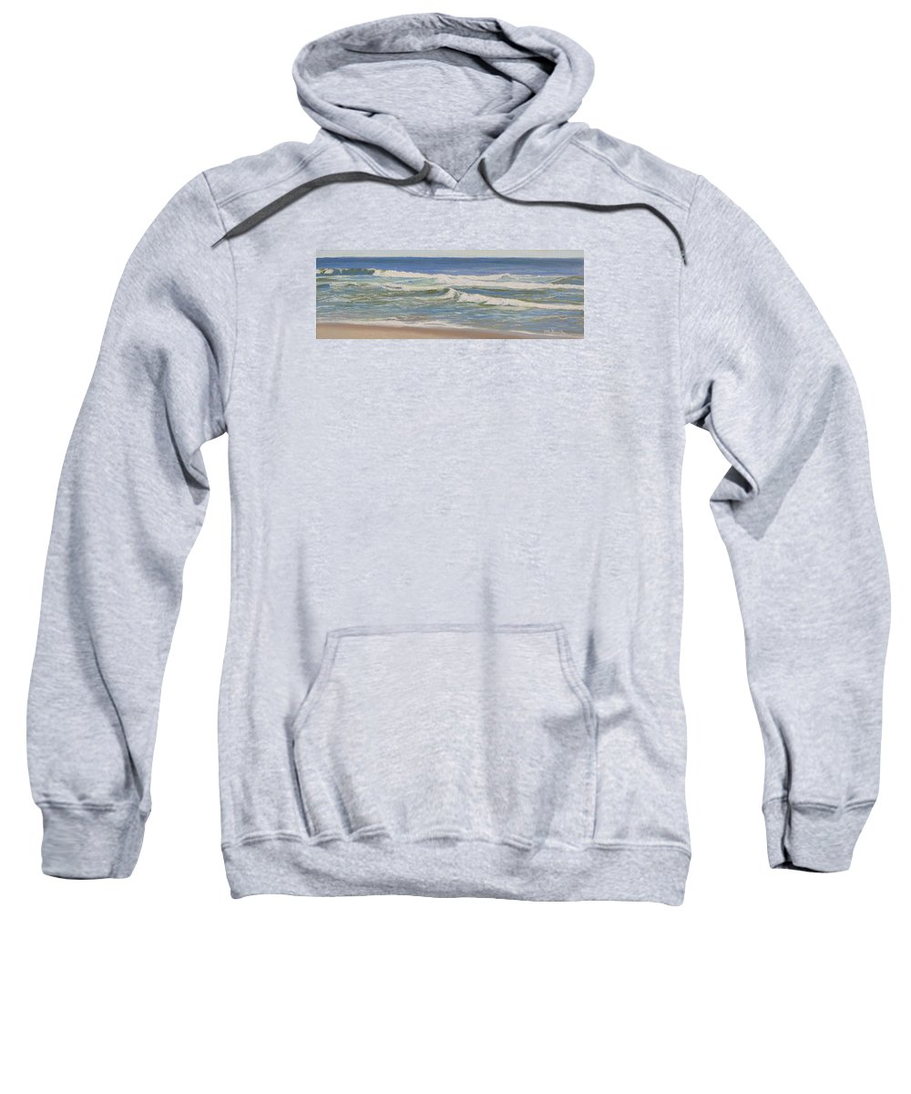 Seascape Sweatshirt featuring the painting Crossing Waves by Lea Novak