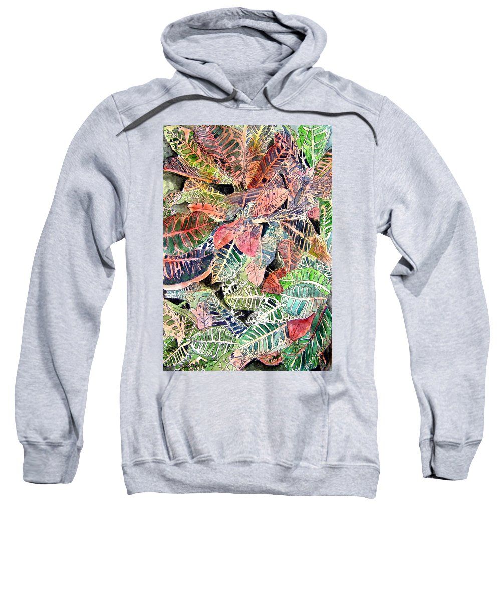 Croton Sweatshirt featuring the painting Croton tropical art print by Derek Mccrea
