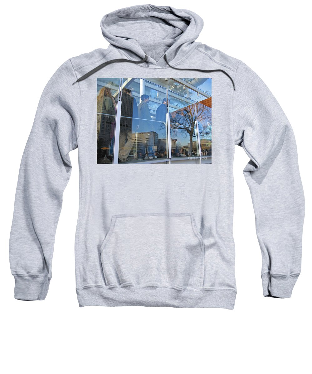 London Sweatshirt featuring the photograph Crowd Queuing Up by Ann Horn
