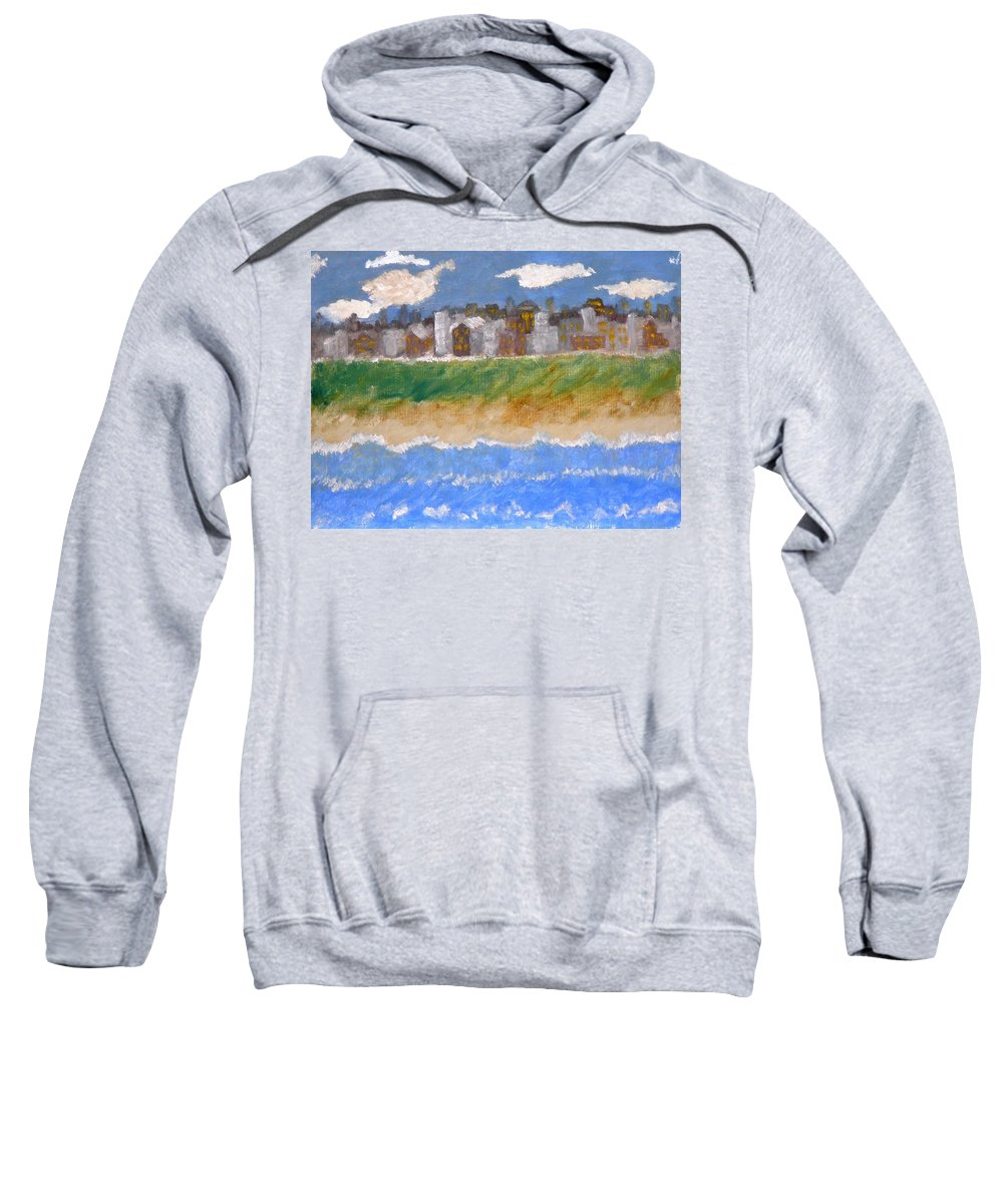 Seascape Sweatshirt featuring the painting Crowded Beaches by R B