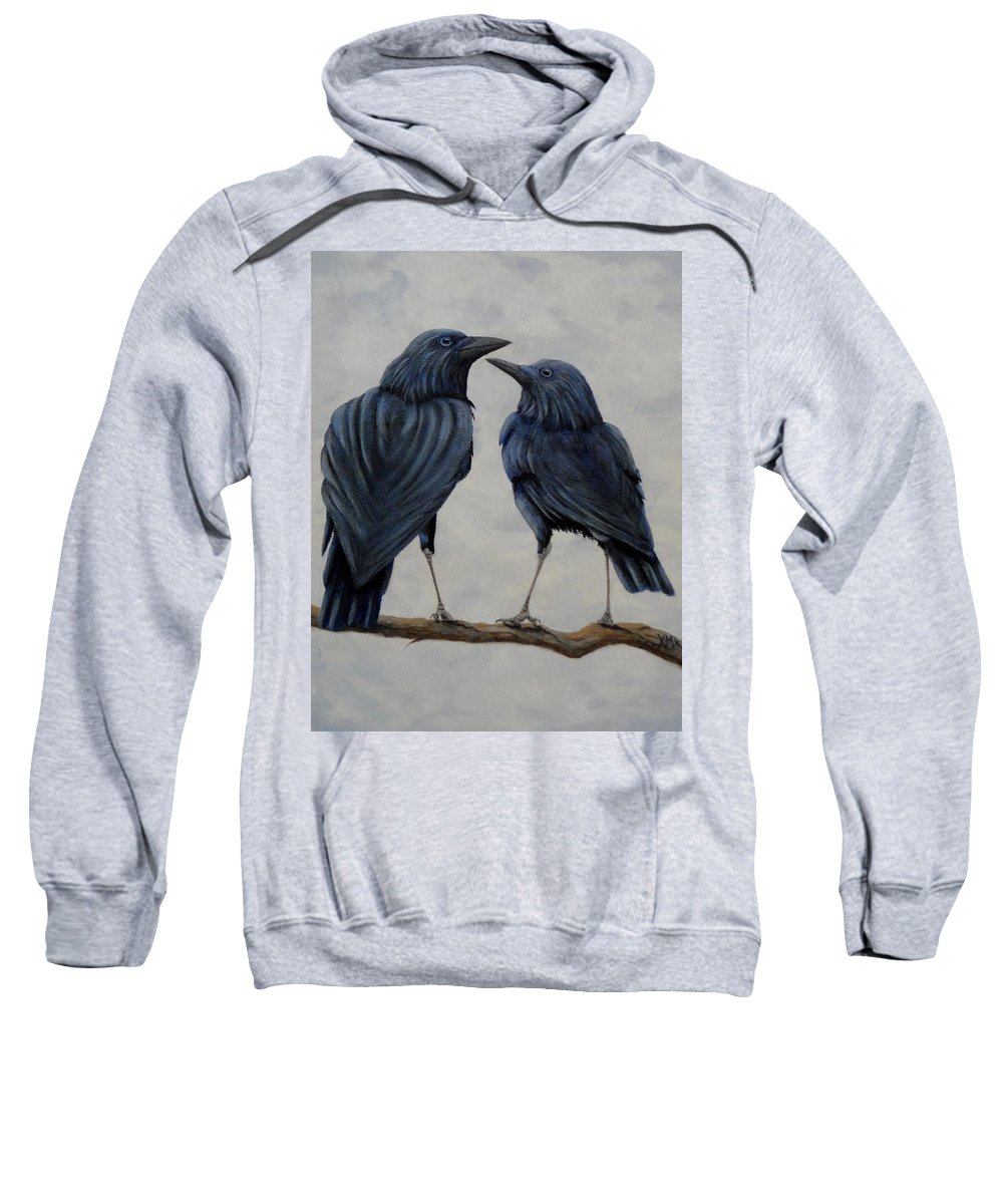 Crows Sweatshirt featuring the painting Crows by Xochi Hughes Madera