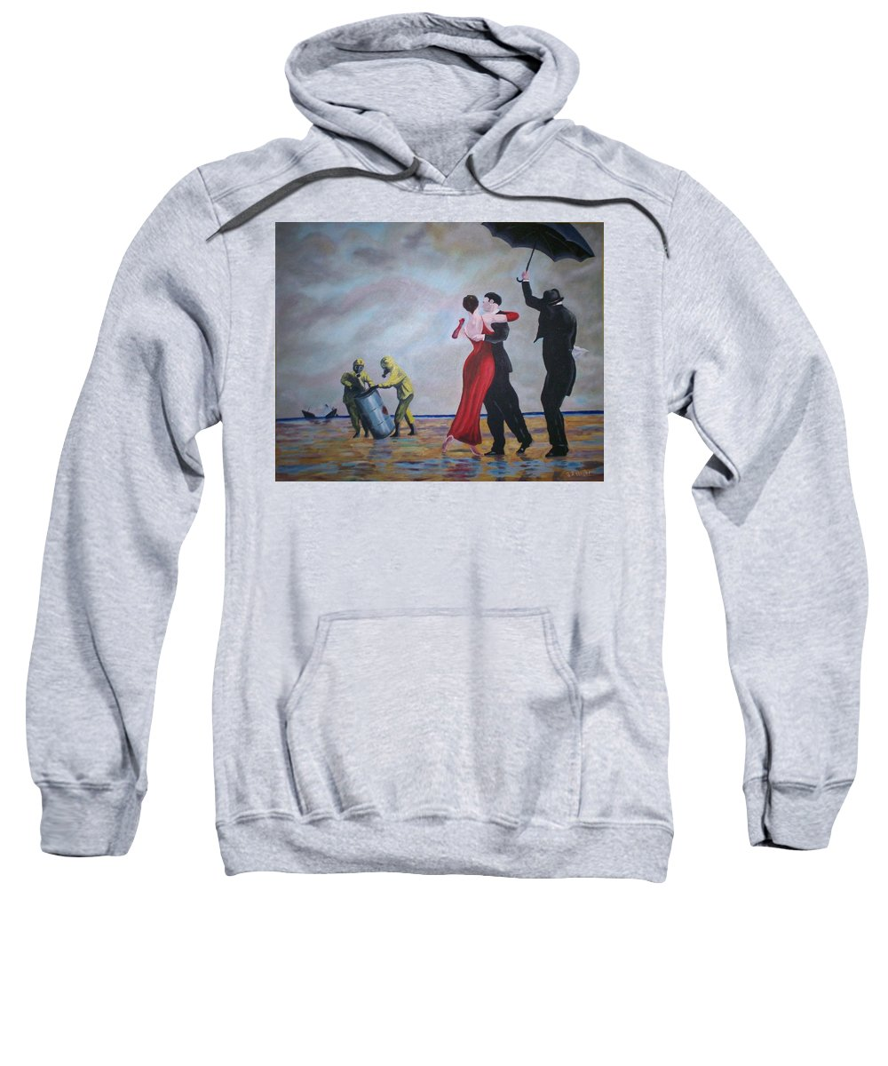 Jack Vettriano Sweatshirt featuring the painting Crude Oil by Gary Hogben