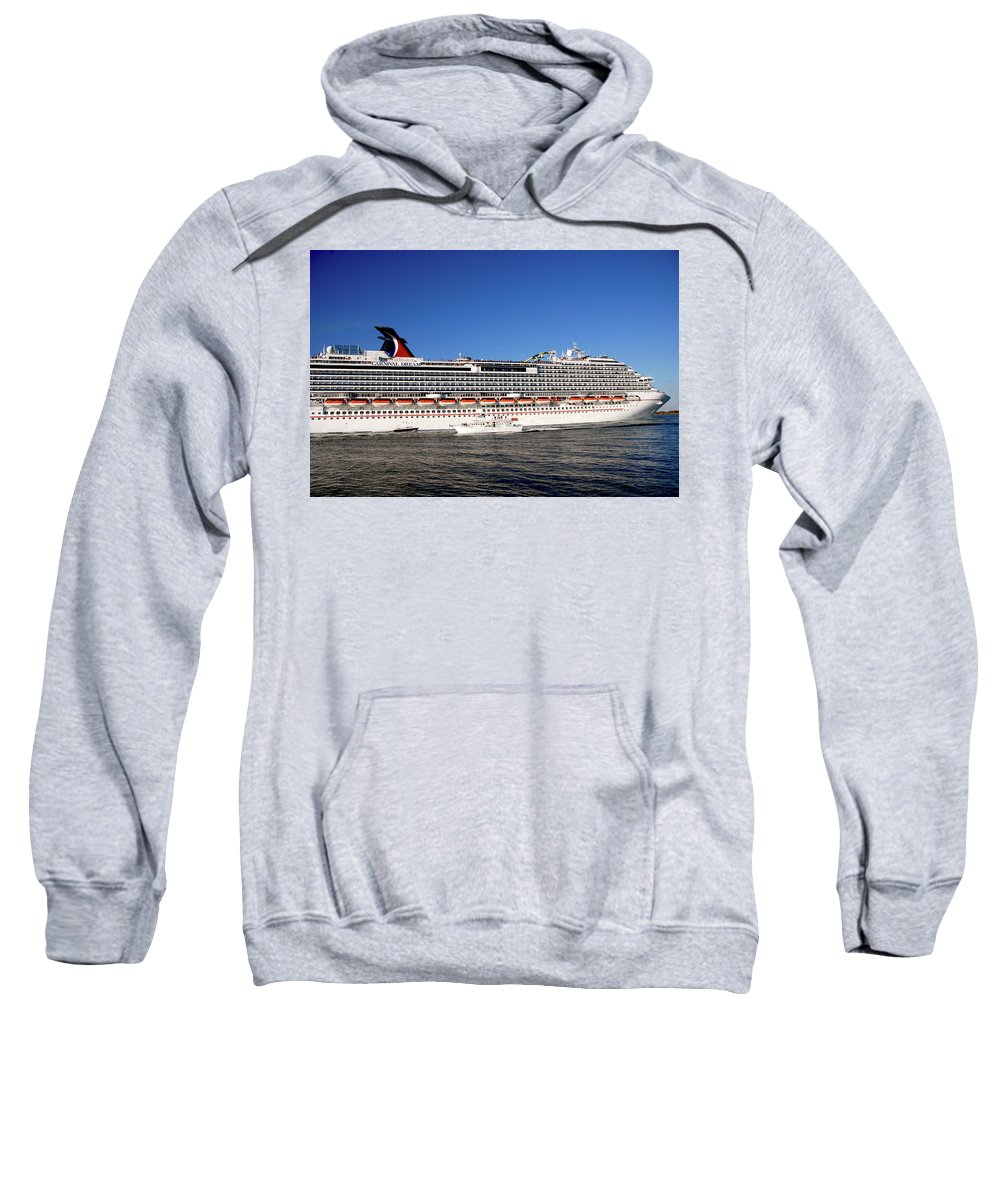 Cruise Ship Sweatshirt featuring the photograph Cruise Ship Is Leaving The Port by Susanne Van Hulst