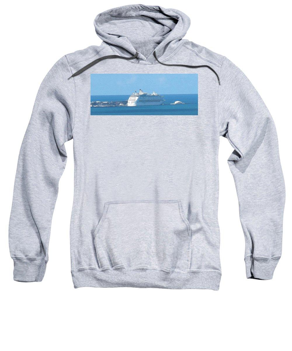 Ship Sweatshirt featuring the photograph Cruiseship At Dockyard Bermuda by Ian MacDonald