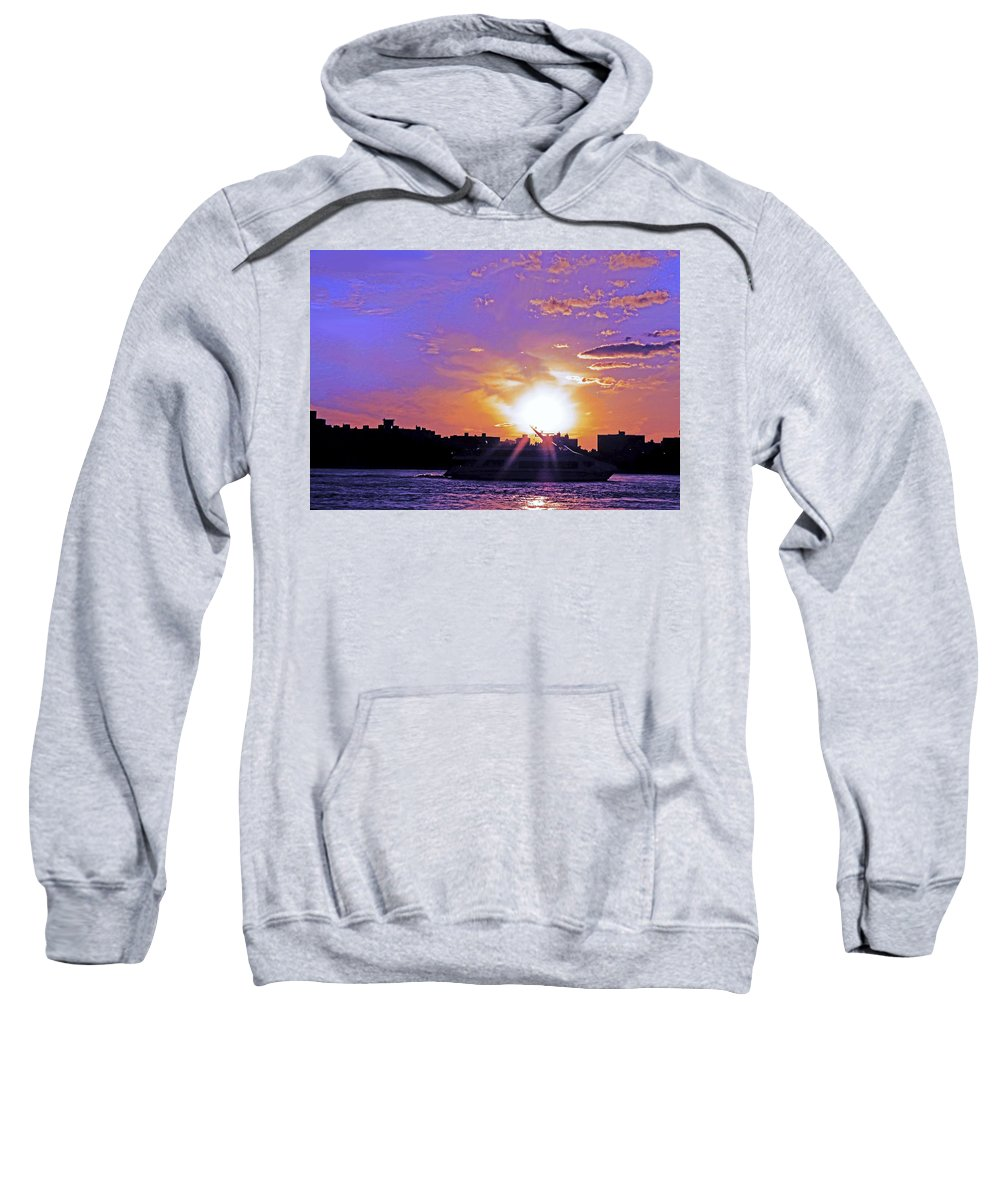 Boat Sweatshirt featuring the photograph Cruising Down The Hudson by Kendall Eutemey