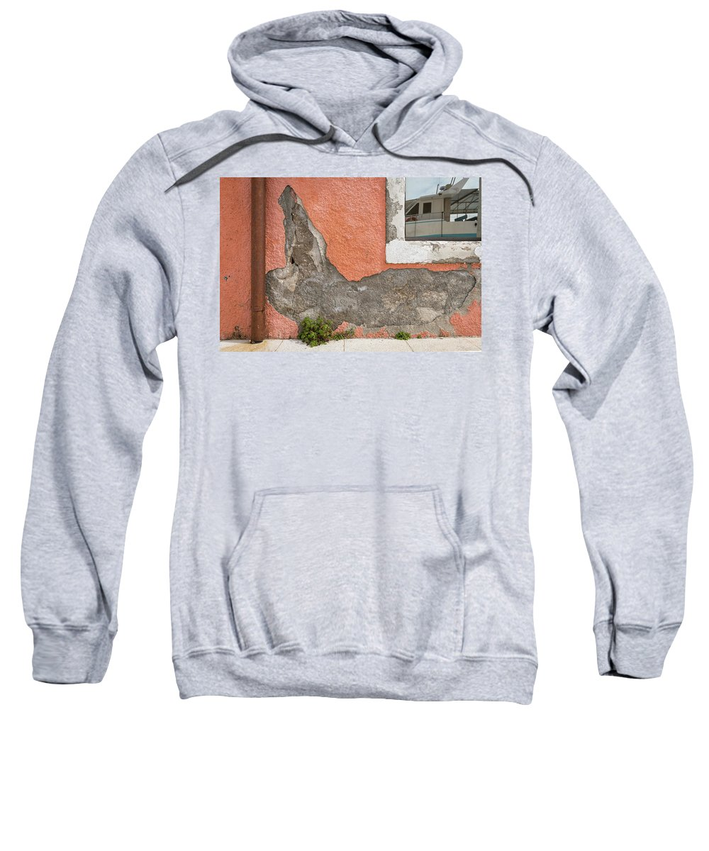 Boat Sweatshirt featuring the photograph Crumbled Plaster Of An Orange Wall, Reflection Of A Boat In The Window by Stefan Rotter