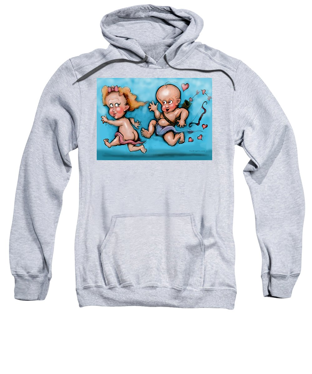 Cupid Sweatshirt featuring the painting Cupid's Chase by Kevin Middleton