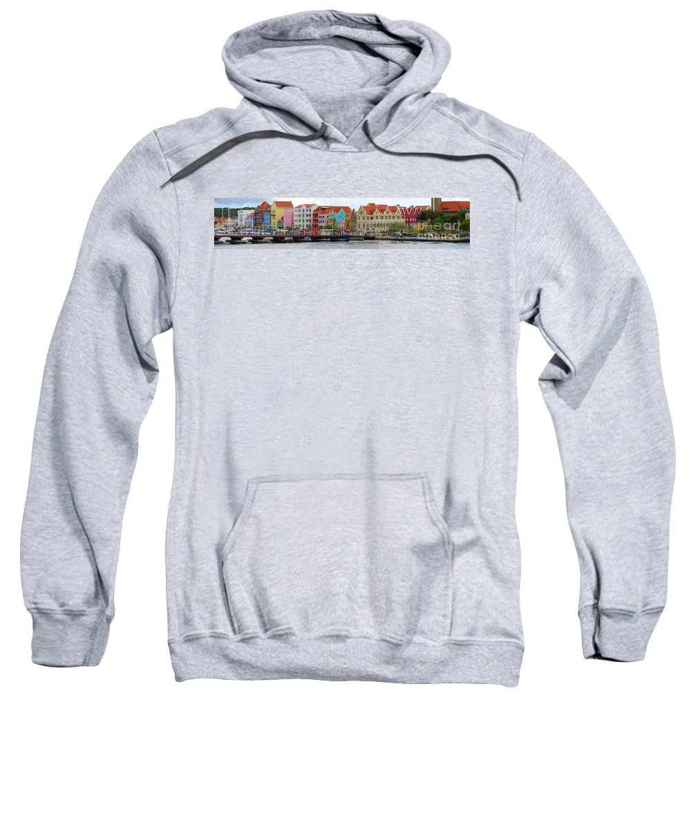 Curacao Sweatshirt featuring the digital art Curacao Willemstad Panorama by Eva Kaufman