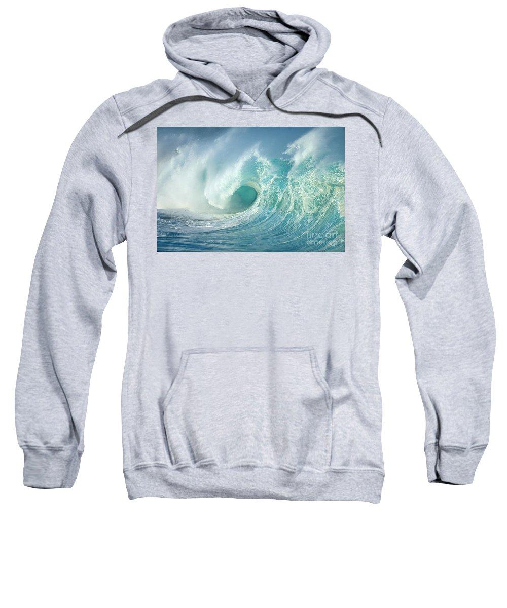 Aqua Sweatshirt featuring the photograph Curling Wave by Vince Cavataio - Printscapes