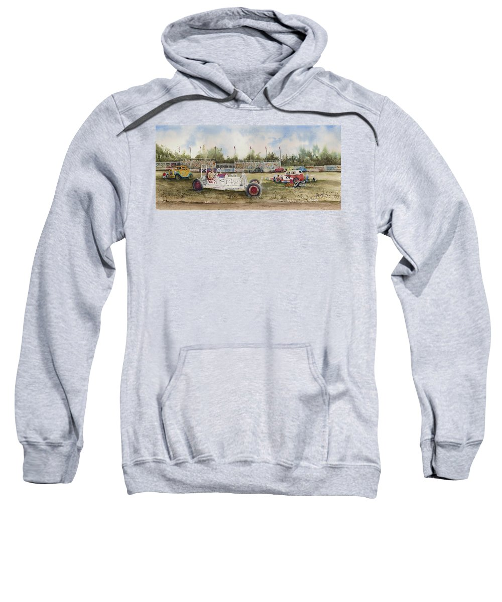 Car Sweatshirt featuring the painting Curts 64 Dollar Question 1949 by Sam Sidders