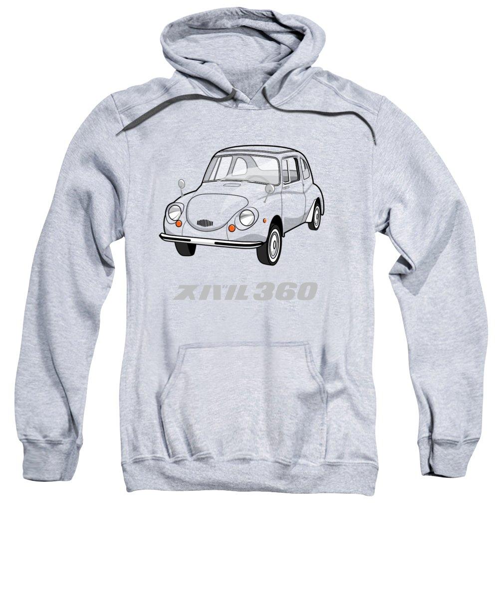1970 Sweatshirt featuring the digital art Custom Color Subaru 360 by Ed Jackson