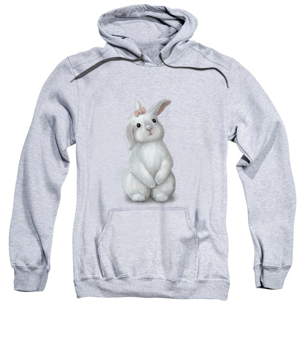 Rabbit Sweatshirt featuring the painting Cute Bunny Girl by Oksana Ariskina