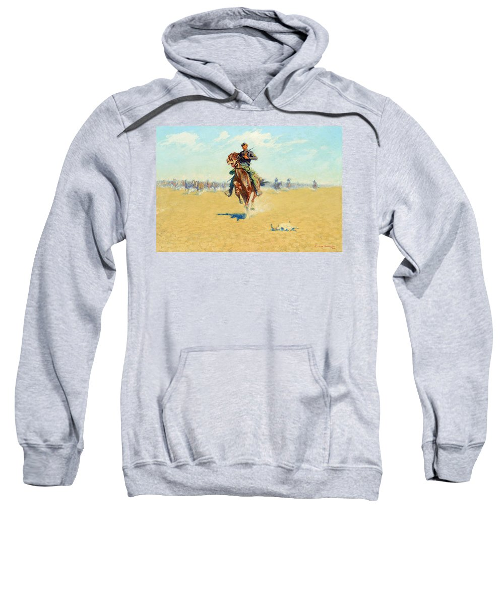 Indian Sweatshirt featuring the painting Cutting Out Pony Herds by Celestial Images