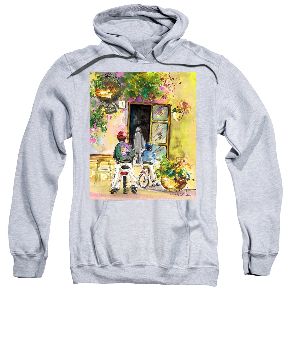 Italy Sweatshirt featuring the painting Cycling In Italy 04 by Miki De Goodaboom
