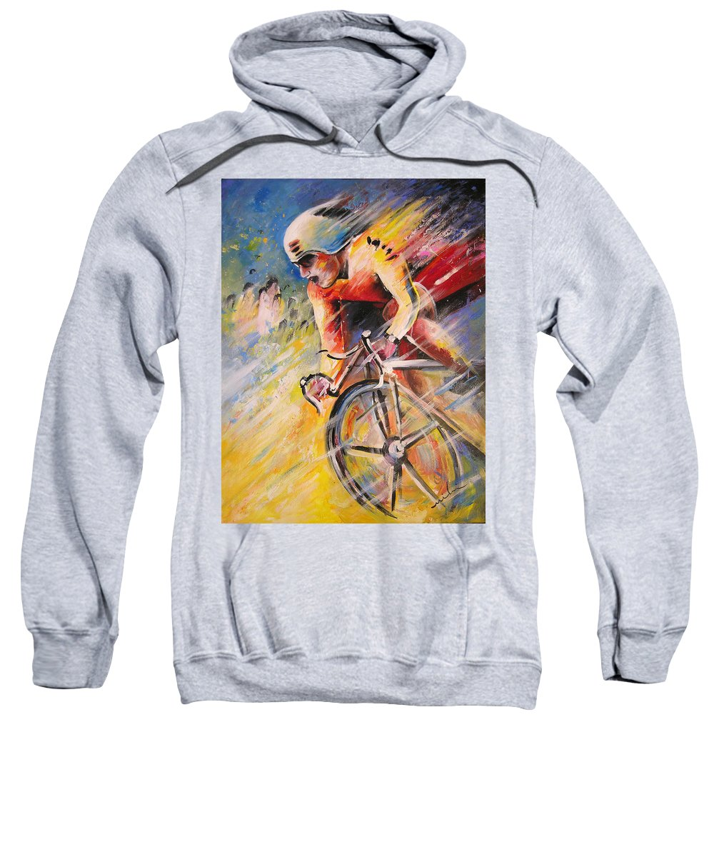 Sports Sweatshirt featuring the painting Cycling by Miki De Goodaboom