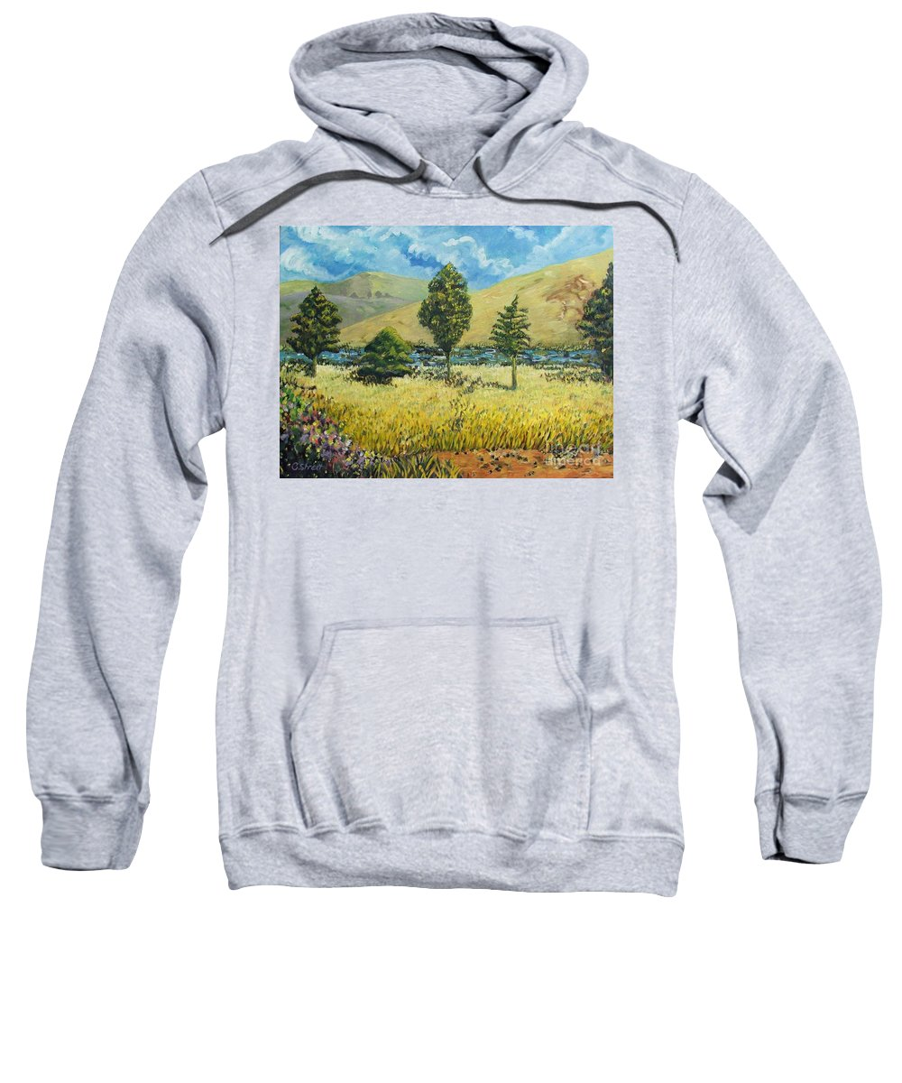 South African Landscape Sweatshirt featuring the painting Cypresses At Lydenburg by Caroline Street