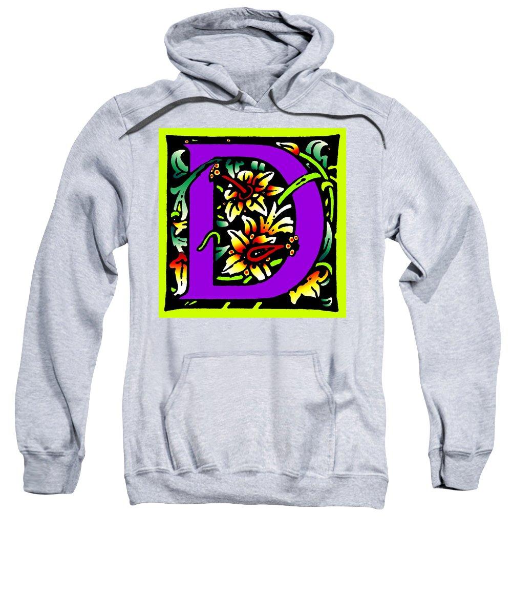 Alphabet Sweatshirt featuring the digital art D In Purple by Kathleen Sepulveda