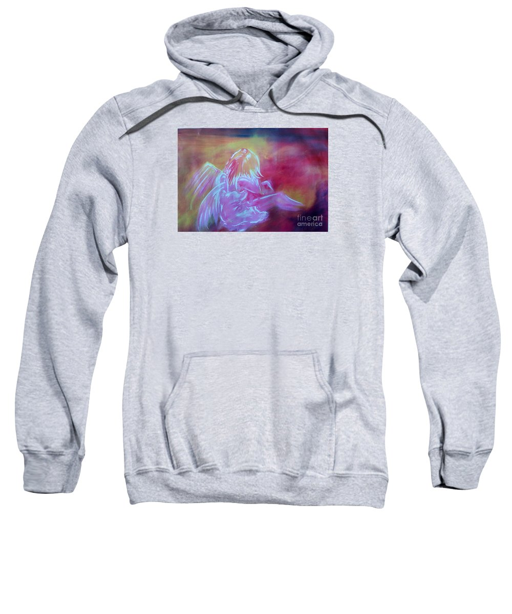 Angel Sweatshirt featuring the painting Dad...xxx by Lowkey Luciano
