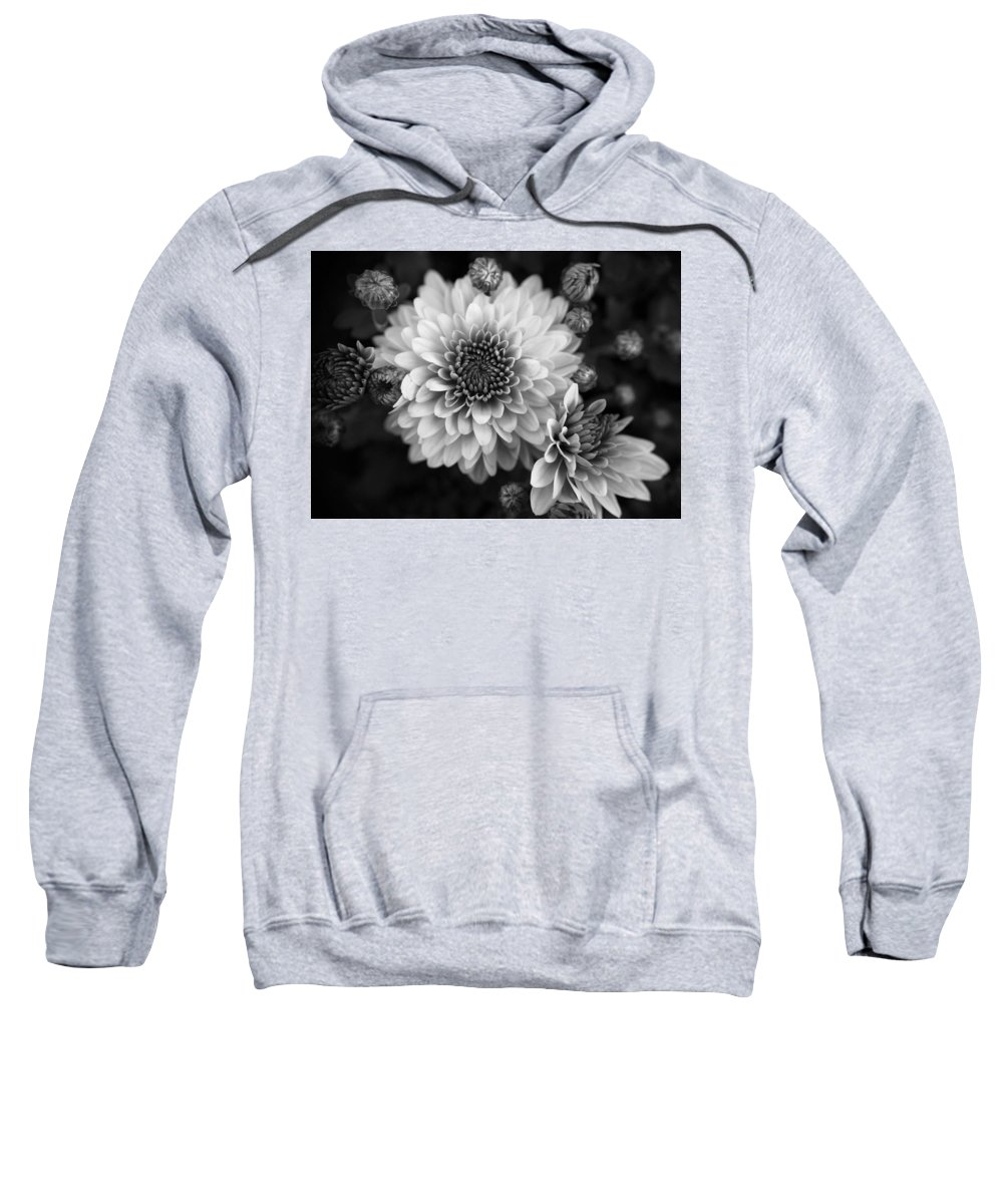 Dahlia Flower Sweatshirt featuring the photograph Dahlia Burst B/w by Ronda Ryan