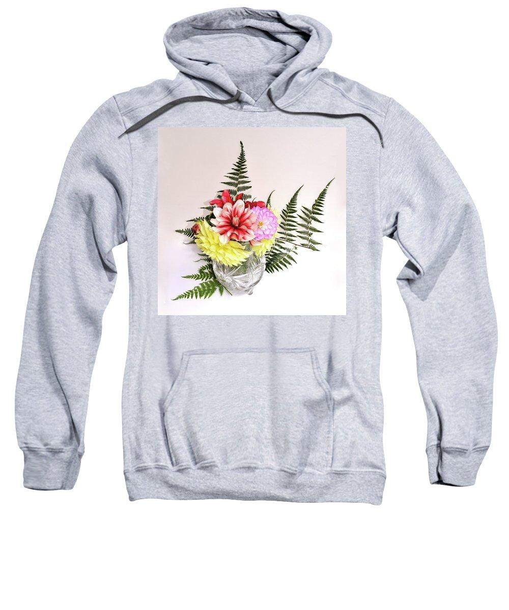 Multicolored Flowers Sweatshirt featuring the photograph Dahlia Vase Still Life by Hewett Beasley