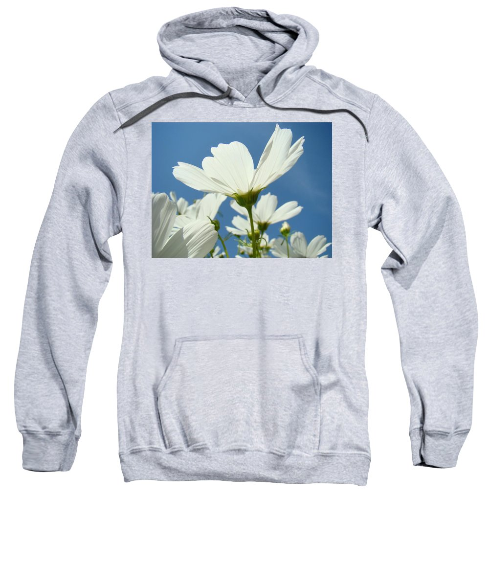 Daisy Sweatshirt featuring the photograph Daisies Floral Art Prints Canvas Daisy Flowers Blue Skies by Baslee Troutman