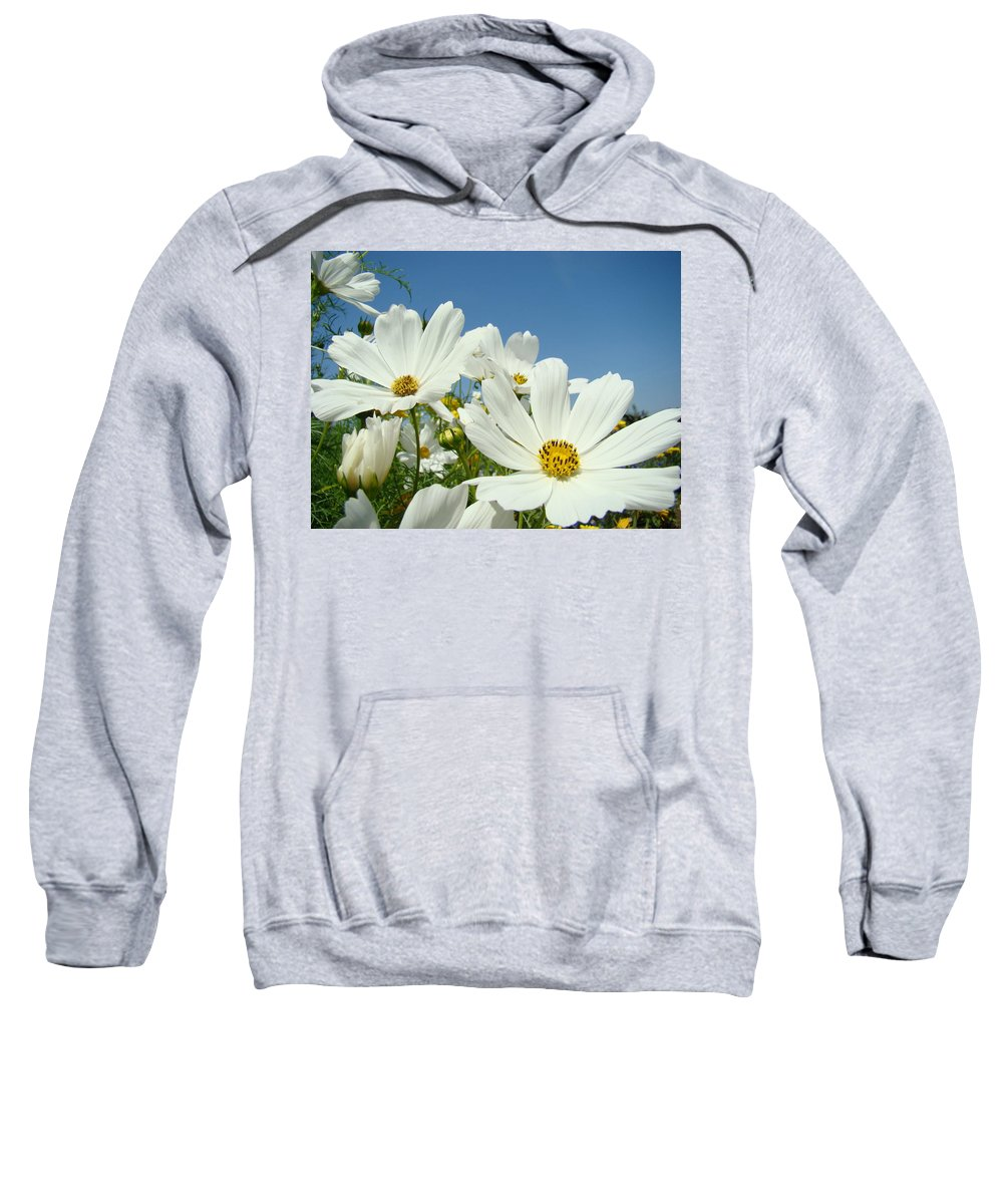 Daisy Sweatshirt featuring the photograph Daisies Flowers Art Prints White Daisy Flower Gardens by Baslee Troutman