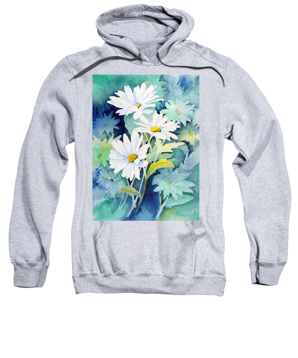 Flowers Sweatshirt featuring the painting Daisies by Sam Sidders