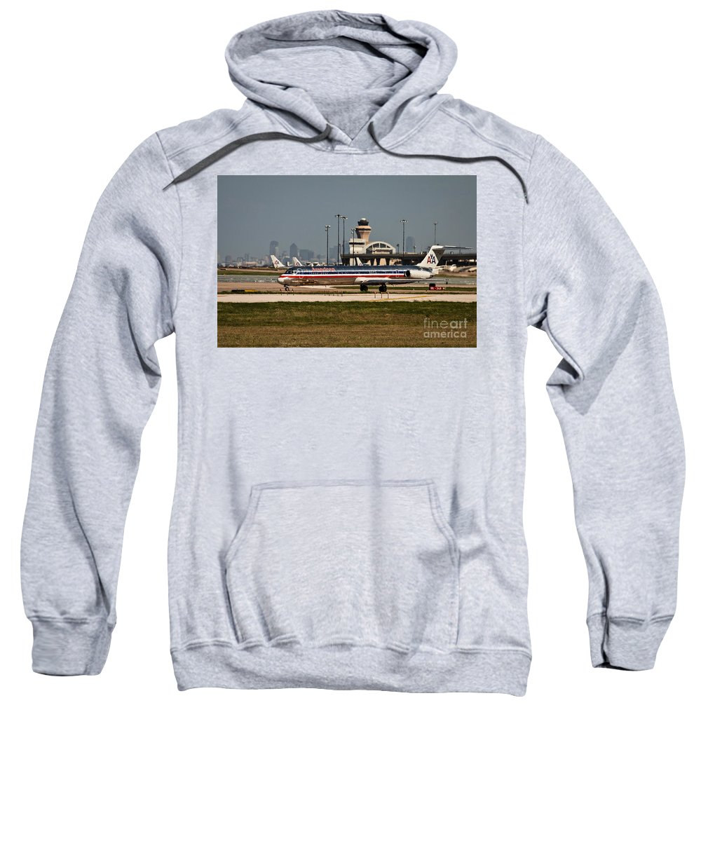 Dallas Sweatshirt featuring the photograph Dallas Airport And Skyline by Terri Morris