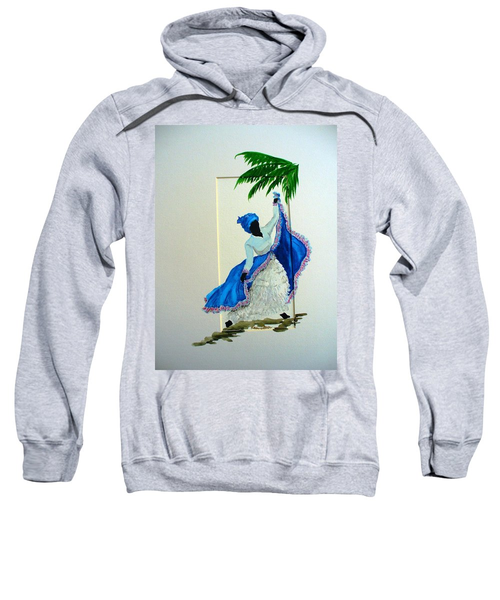 Folk Dance Caribbean Tropical Sweatshirt featuring the painting Dance De Pique by Karin Dawn Kelshall- Best