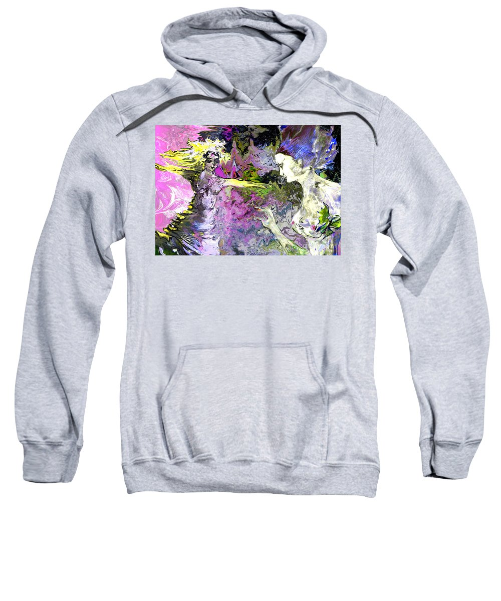 Miki Sweatshirt featuring the painting Dance In Violet by Miki De Goodaboom