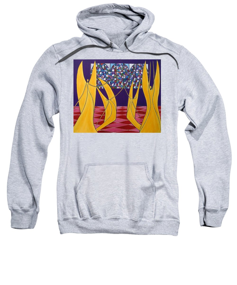 Dance Of Angels Sweatshirt featuring the painting Dance Of Angels by Sandra Marie Adams