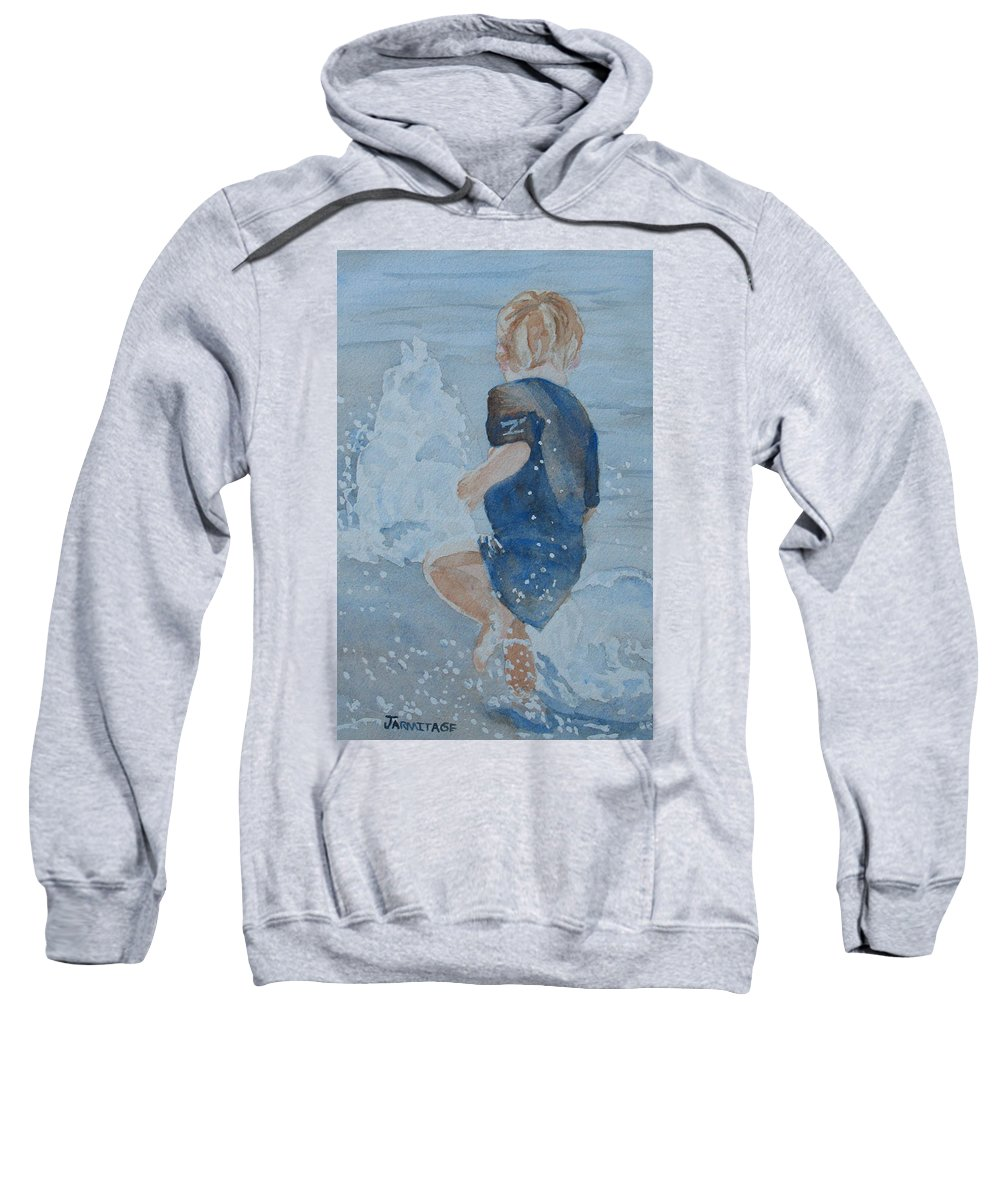 Boy Sweatshirt featuring the painting Dances With Fountains by Jenny Armitage