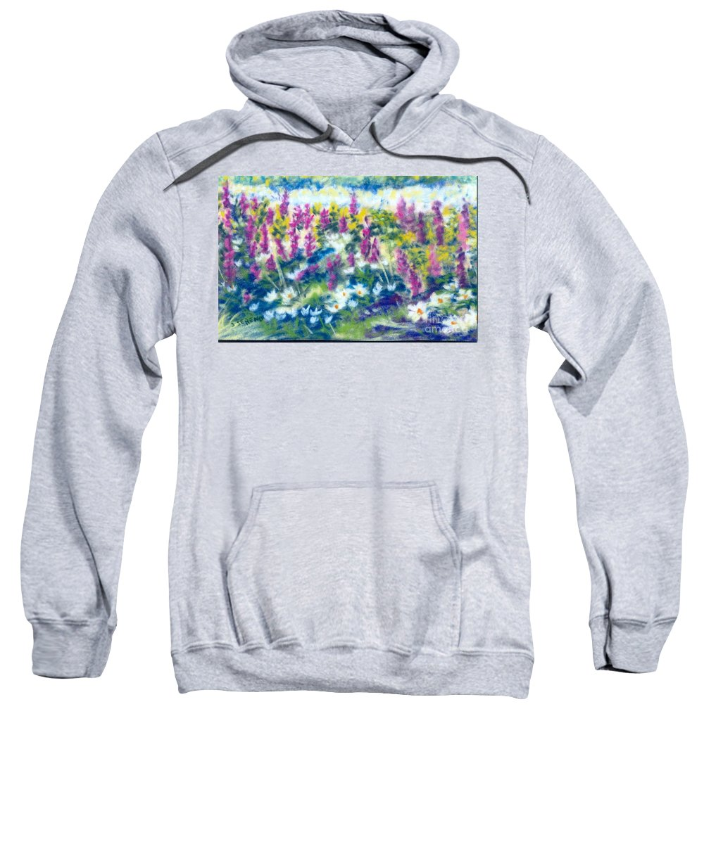 Flowers Sweatshirt featuring the painting Dancing Daisies by Sandy Sereno